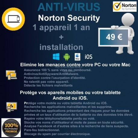Installation anti-virus Norton Security 1 appareil 1 an Rethel et alentours