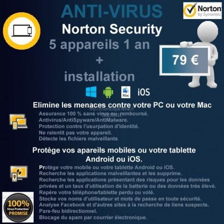 Installation anti-virus Norton Security 5 appareils 1 an