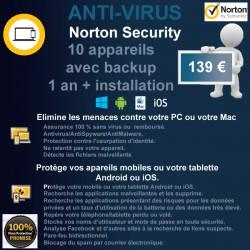 Installation anti-virus Norton Security 10 appareils avec sauvegarde 1 an