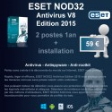 Installation anti-virus ESET NOD32 Edition 2015 2 postes 1 an
