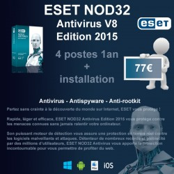 Installation anti-virus ESET NOD32 Edition 2015 4 poste 1 an