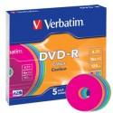 DVD-R 4,7 Go 16x en slimcase 5 pièces Verbatim Coleur Surface