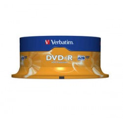 DVD-R 4,7 Go 16x en cakebox 25 pièces Verbatim
