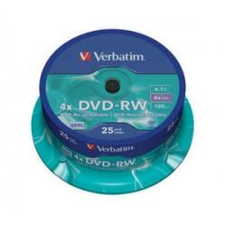 DVD-RW 4,7 Go 4x en Cakebox 25 pièces Verbatim