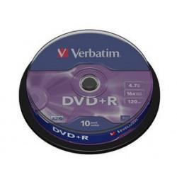 DVD+R 4,7 Go 16x en cakebox 10 pièces Verbatim