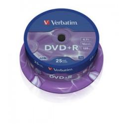 DVD+R 4,7 Go 16x en cakebox 25 pièces Verbatim
