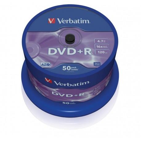DVD+R 4,7 Go 16x en cakebox 50 pièces Verbatim