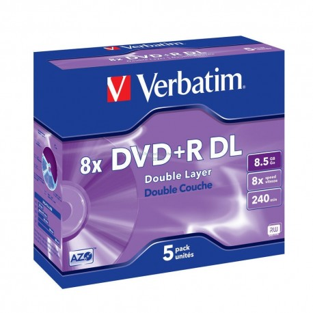 DVD+R DL 8,5 Go 8x double couche Matt Silver en jewelbox pack de 5 Verbatim