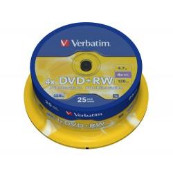 DVD+RW 4,7 Go Verbatim 4x en cakebox 25 pièces Verbatim