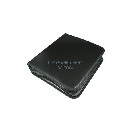 Pochette de rangement nylon noir pour 24 CD/DVD/Blu-Ray