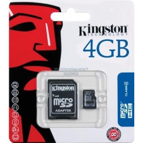 Carte micro SDHC 4Go avec adaptateur Kingston