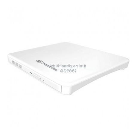 Graveur DVD portable ultra fin (slim), Transcend TS8XDVDS-W, blanc
