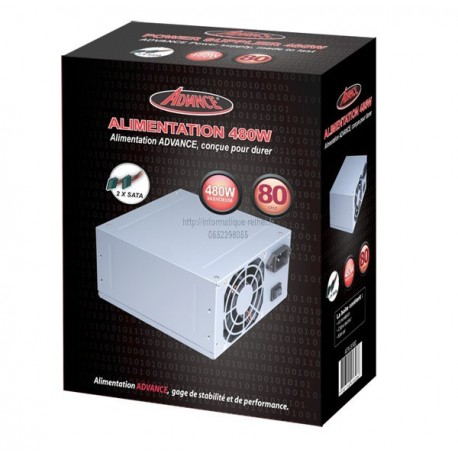 Alimentation 480W Advance ATX-5100 20+4 pins 80mm 4xSATA