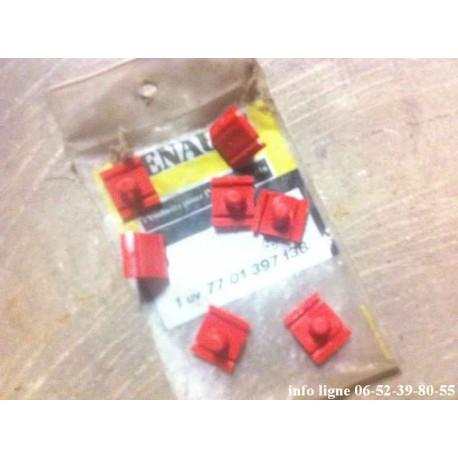 Lot de 7 agrafes rouge d'origine Renault - Référence 7701397138 (Neuf)